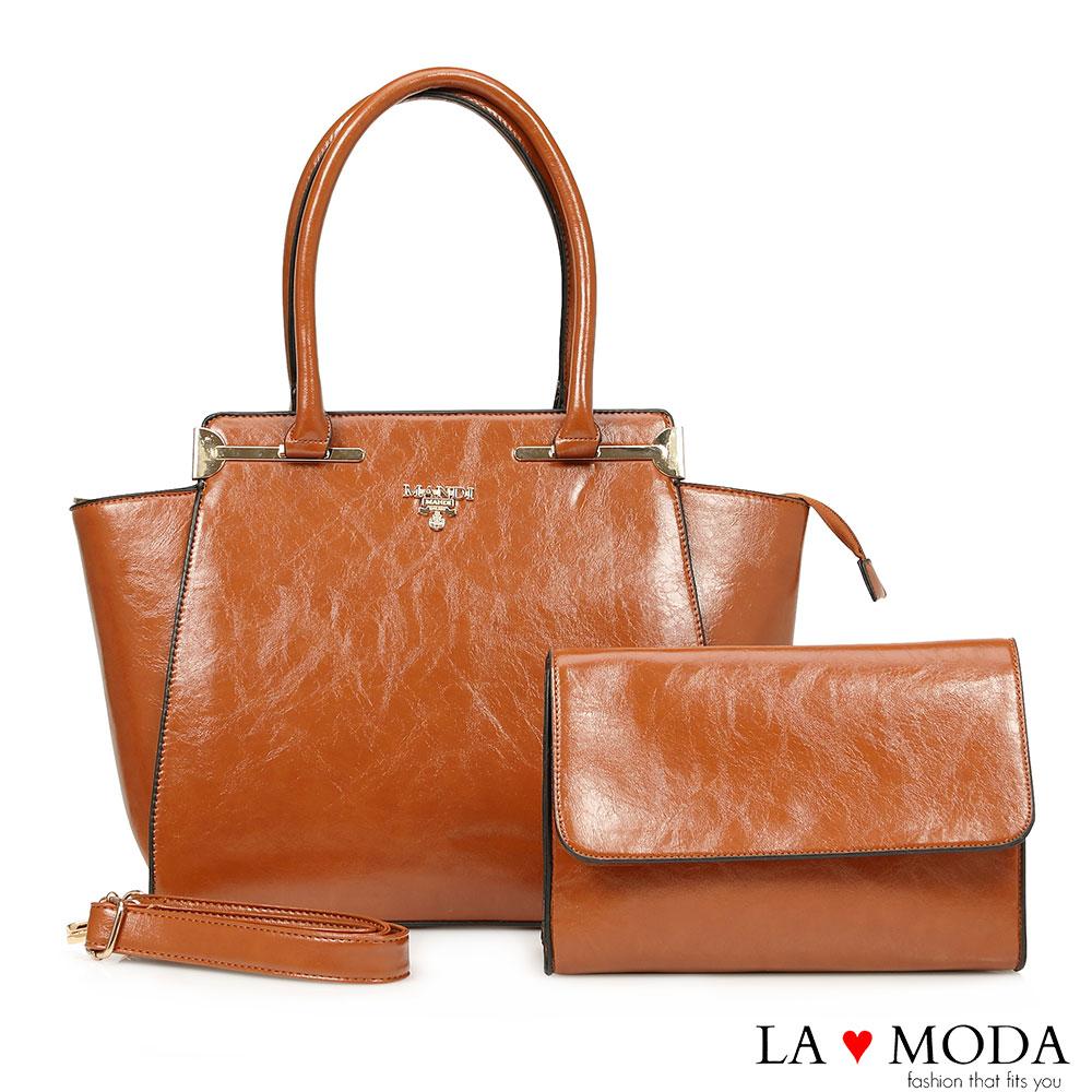 La Moda 出遊首選超大容量油紋面料子母包托特包兩件組(棕)