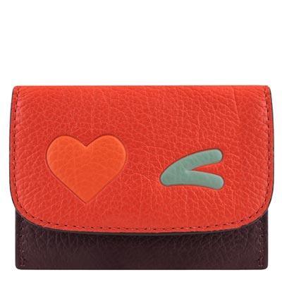 COACH 橘紅色皮革證件三卡名片夾COACH