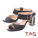 TAS 網紋寬版方扣繫帶金屬後跟涼拖鞋-時尚黑