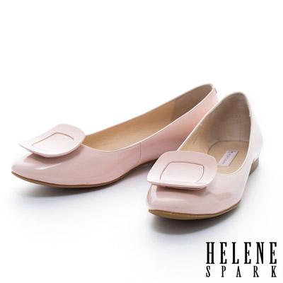 HELENE SPARK 質感烤漆方釦牛軟漆皮平底娃娃鞋-粉