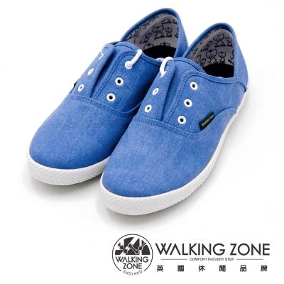 WALKING ZONE果漾YOUNG純棉帆布鞋休閒鞋 女鞋-藍
