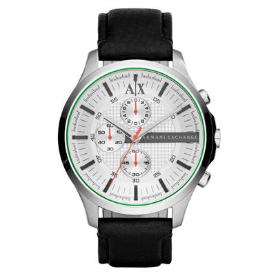 A│X Armani Exchange 翱翔天際三眼計時腕錶-白x黑色錶帶/ 46 mm
