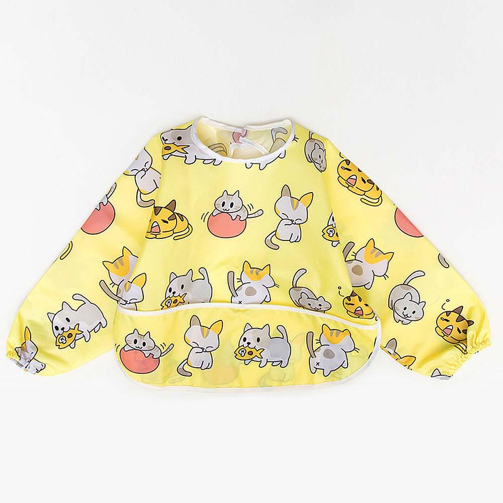 Baby unicorn 黃色小貓口袋造型長袖圍兜
