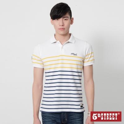 5th STREET 細條紋短袖POLO衫-男-白色