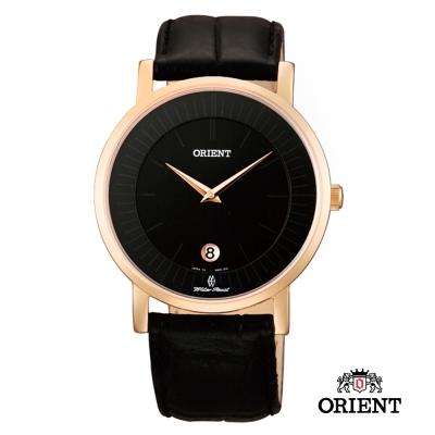 ORIENT 東方錶 SLIM系列 超薄簡約優雅阿拉伯數字藍寶石鏡面石英錶-黑色/38mm