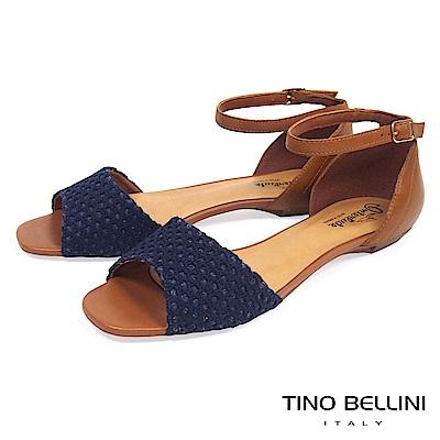 Tino Bellini巴西進口網格布料繫踝平底涼鞋_ 藍