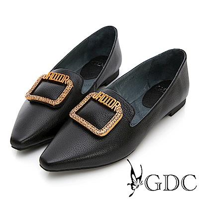 GDC-真皮歐美風金屬質感尖頭平底包鞋-黑色