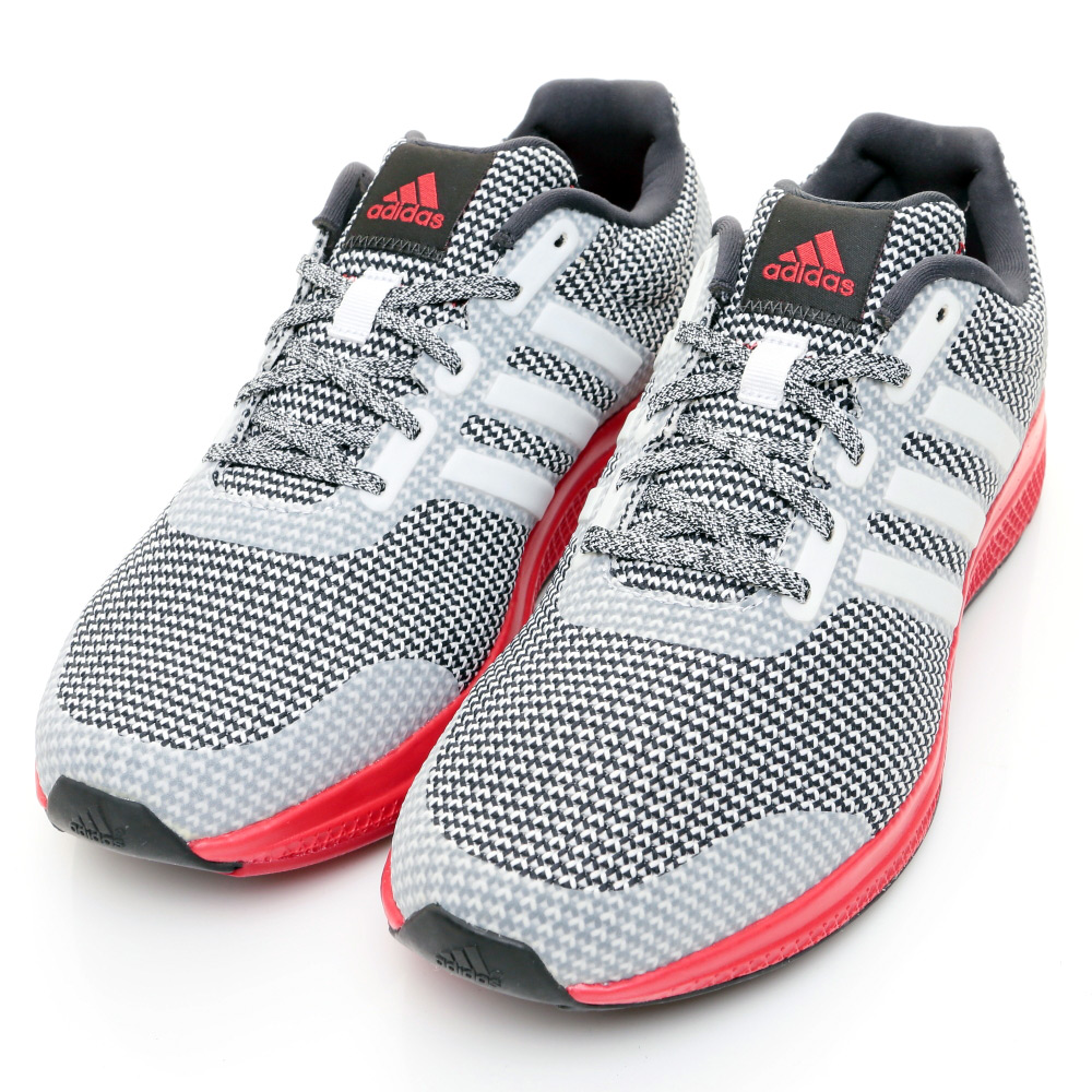 ADIDAS-MANA BOUNCE男慢跑鞋-灰白紅