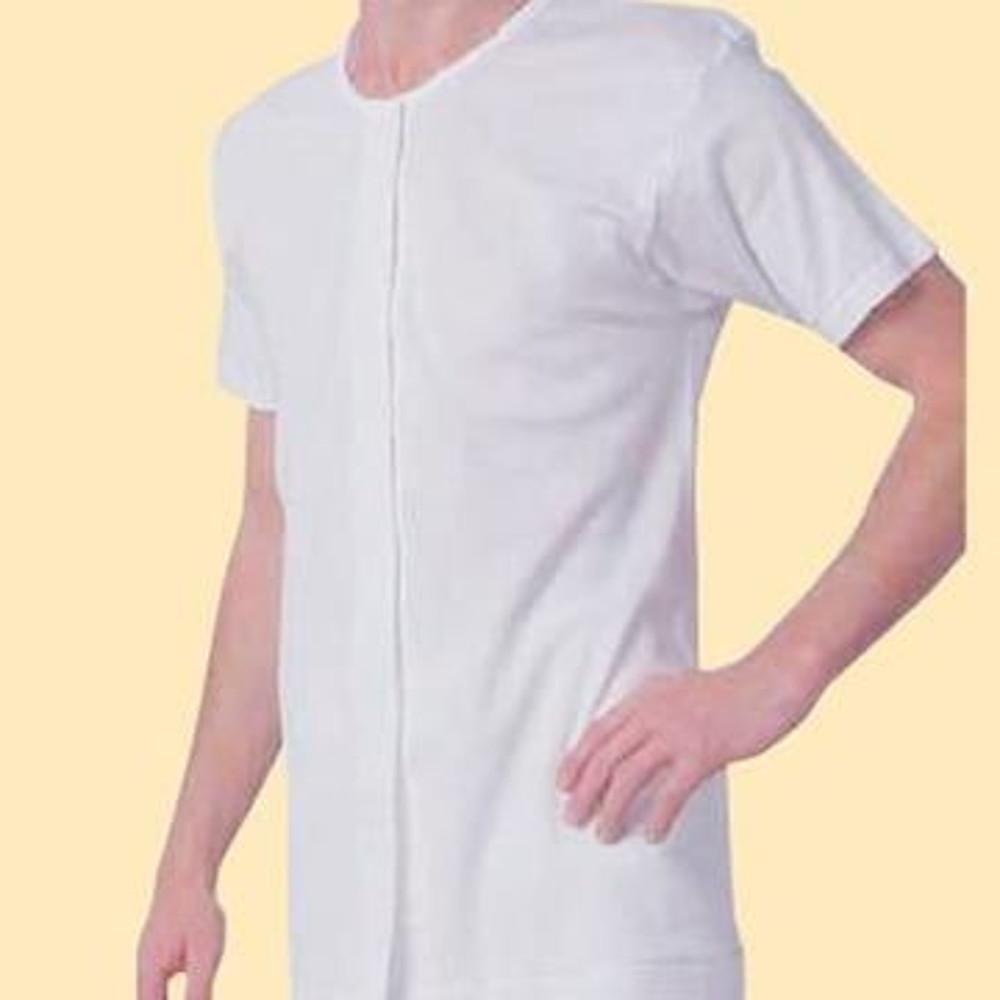 日本製男用前開式自粘內衣 - 半袖 (穿脫簡單設計)