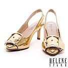 高跟鞋 HELENE SPARK 時尚金屬大飾釦點綴蛇紋牛皮繫帶尖頭高跟鞋-金