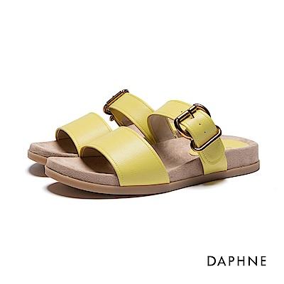 達芙妮DAPHNE 涼拖鞋-寬版雙帶平底涼拖鞋-黃