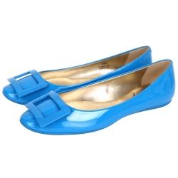 Roger Vivier Gommette 漆皮方框平底娃娃鞋(藍色)