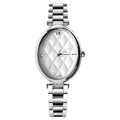 NATURALLY JOJO 優雅女伶晶鑽不鏽鋼腕錶-銀白/23mm