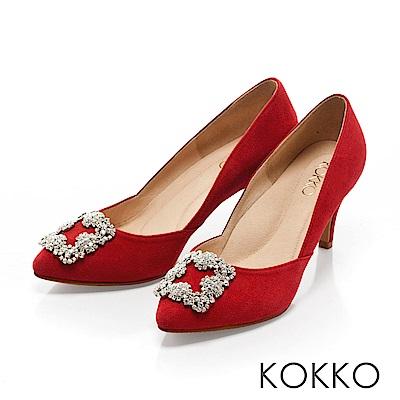 KOKKO -晶燦花嫁鑽扣尖頭高跟鞋-愛戀紅