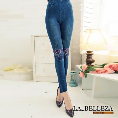La Belleza膝蓋紫花抓摺刷色仿牛仔內搭褲