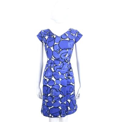 LOVE SEX MONEY 藍x白色泡泡塗鴉短袖V領洋裝
