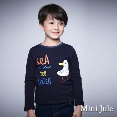 Mini Jule 童裝-上衣 不倒絨天鵝字母印花長袖上衣(寶藍)