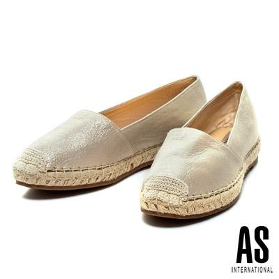 AS-草編系列-素面簡約羊皮厚底休閒鞋-金