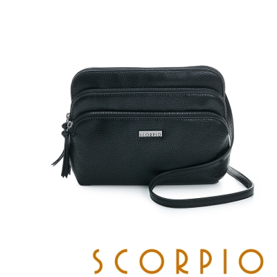 SCORPIO 類真皮超纖系列多夾層設計肩背包 - 黑色