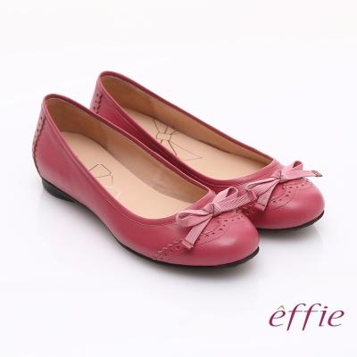 effie 俏麗悠活 全真皮織帶蝴蝶結飾平底鞋 桃粉紅
