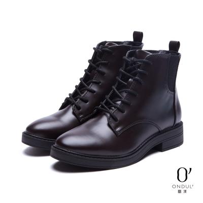 達芙妮x高圓圓 圓漾系列 短靴-漆皮綁帶短靴-酒紅