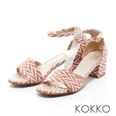 KOKKO-幻象歐普藝術羊皮粗跟繫帶涼鞋-珊瑚橘