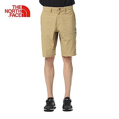 The North Face北面男款卡其色舒適透氣休閒短褲