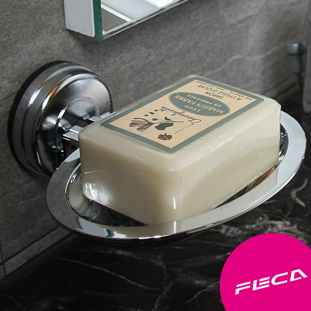 FECA 非卡 無痕超強力吸盤 橢圓皂盤(銀)