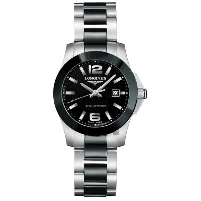 LONGINES浪琴 征服者陶瓷300米潛水女錶-黑x銀/29.5mm