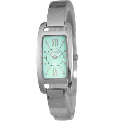 MANGO 醉心真情晶鑽不鏽鋼時尚腕錶-藍綠/20mm