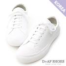 D+AF 活力玩色.粉彩綁帶平底休閒小白鞋*白