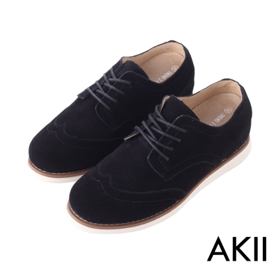 AKII韓國空運-時尚經典布洛克麂皮男款內增高休閒鞋 ↑6cm 紳士黑