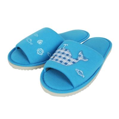 Yvonne Collection鯨魚貼繡拖鞋-藍M