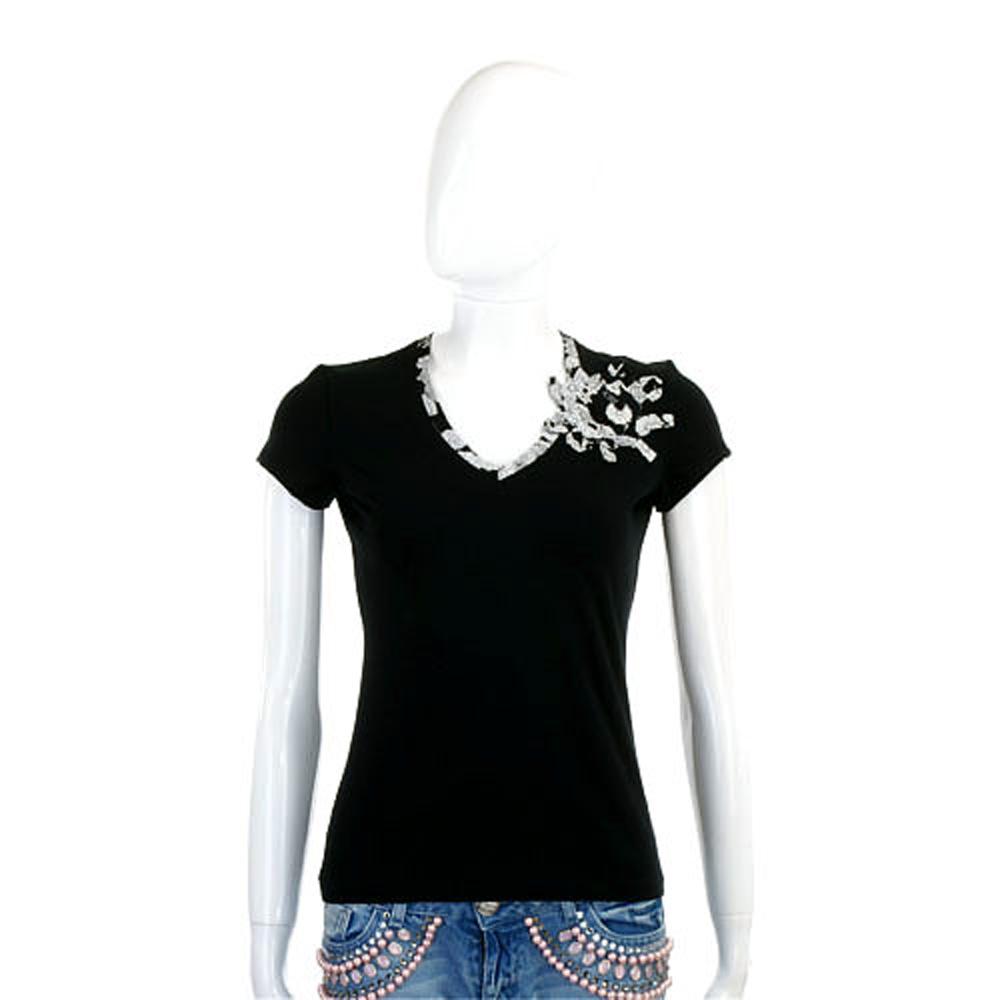 antonio marras 黑色花布滾邊設計V領短袖上衣