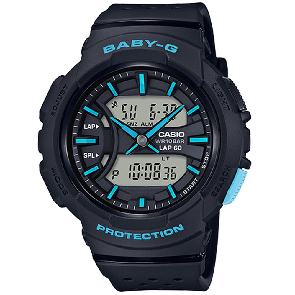 BABY-G 慢跑運動計時腕錶(BGA-240-1A3)黑/42.mm