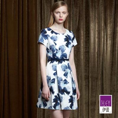 ILEY伊蕾-大方典雅花朵洋裝-藍