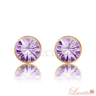 Lucita 耳環 彩鑽金邊耳環 (夢幻紫)