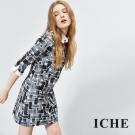 ICHE衣哲 造型衣領印花拼接假兩件洋裝