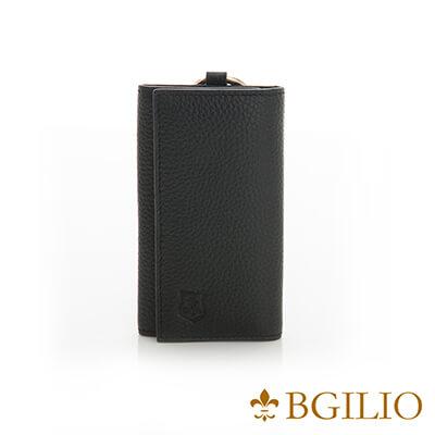 義大利BGilio-全牛皮中性鑰匙包-黑色-1605.310A-05
