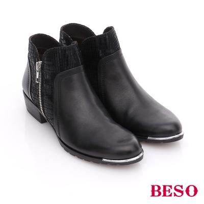 BESO 簡約知性 真皮絨布拼接菱格紋短靴  黑色