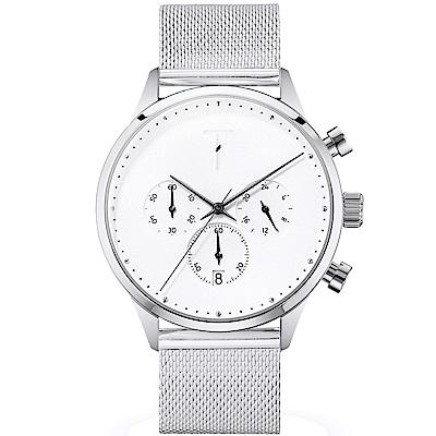 TYLOR 質感米蘭帶三眼計時手錶-白X銀/41mm