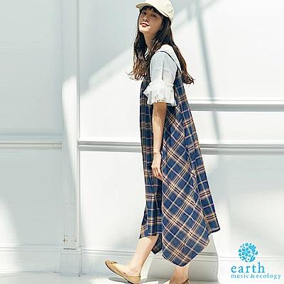 earth music 亞麻混紡格紋吊帶洋裝