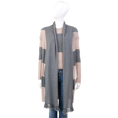 MARELLA 灰x膚色條紋拼接圍巾造型兩件式上衣