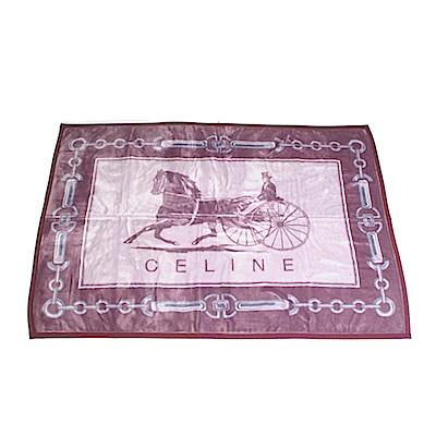 【CELINE】首席素面LOGO蓋毯禮盒(紫色)