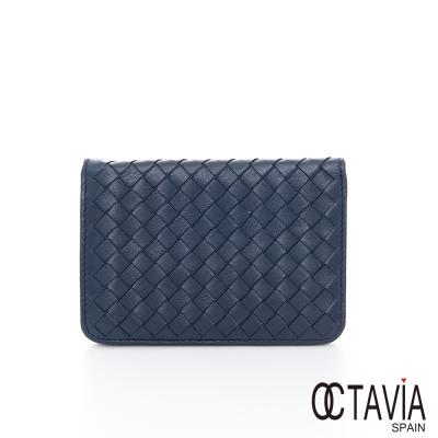 OCTAVIA-8-真皮-德瑞克編織-牛皮護照卡片二用短夾-特別藍