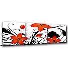 橙品油畫布-三聯式方形 掛畫無框畫 花朵朵 50x50cm