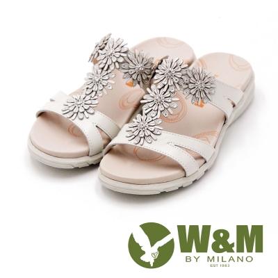W&M FIT 花朵造型健走族健塑鞋 拖鞋 女鞋-白