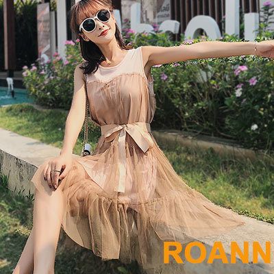 拼接網紗寬鬆大擺無袖洋裝 (共三色)-ROANN