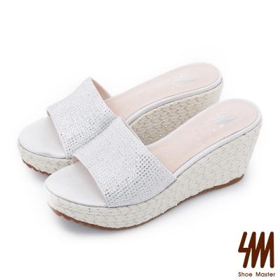 SM~晶鑽系列~細鑽布紋麻花楔型厚底拖鞋~白色