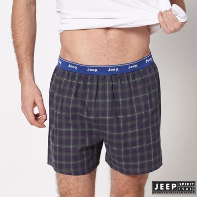JEEP 五片式剪裁 純棉平口褲 (藍綠格紋)